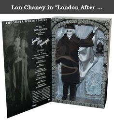 "Lon Chaney in ""London After Midnight"" Silver Screen Edition Doll. *Lon Chaney as the Vampire 12"" figure *Features over 30 points of articulation *Includes a highly detailed cloth outfit and accessories that include his large top hat bat winged cape and lantern *Comes with cobblestone display base *Silver Screen edition has black and white paint deco representing the tones of the original film *Officially licensed *Brand new."
