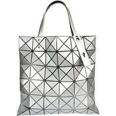Bao Bao Issey Miyake Prism Tote (10.520 CZK) ❤ liked on Polyvore featuring bags, handbags, tote bags, silver, white tote, white tote bag, tote handbags, handbags tote bags and tote bag purse