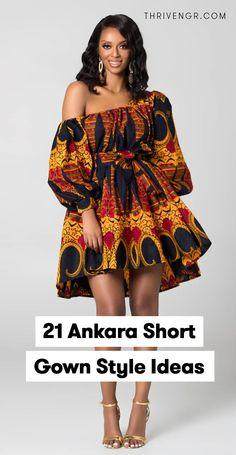 45 Ankara Short Gown Styles Designs 2019 (Updated Weekly) - Hand Nail Design FoR Women Ankara Short Gown Styles, Short African Dresses, Short Gowns, African Print Dresses, Short Styles, Ankara Gowns, African Fashion Ankara, Latest African Fashion Dresses, African Print Fashion