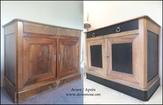 Buffet sideboard cherry type A large revamped drawer in wood and black Art Deco Furniture, Cheap Furniture, Kitchen Furniture, Home Furniture, Furniture Restoration, Restoration Services, Shop Interior Design, Home Entertainment, Home Staging