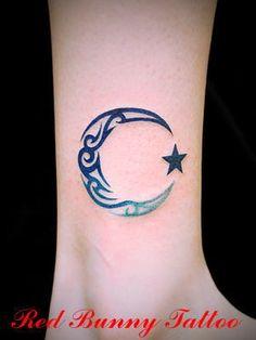 moon star tattoo. My moon looks similar :)
