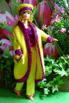 OOAK Vintage Silkstone Barbie Mod Fashion 9pc YELLOW AGLOW Clare's Couture #ClaresCouture