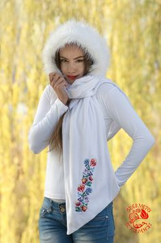 Hooded scarf, embroidery, Hungary, soft, warm, fashion, clothes Hooded Scarf, Hungary, Fashion Clothes, Hoods, Scarves, Warm, Embroidery, Clothes For Women, Sweaters
