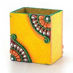 Handcrafted Pens This Handcrafted pen Stand is made of wood and decorated with kundan meenakari w. Rock Crafts, Diy Home Crafts, Craft Stick Crafts, Clay Crafts, Arts And Crafts, Clay Wall Art, Clay Art, Rajasthani Art, Diy Diwali Decorations
