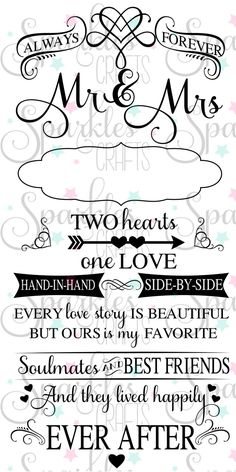 Mr&Mrs Forever Marriage Two Hearts One Love svg dxf eps jpg pdf png studio3 for Silhouette Cameo Cricut file Wedding by SparklesCrafts on Etsy