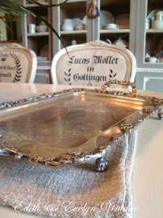 Antique Silverplate Tray Claw Feet Ornate Grape by edithandevelyn on Etsy