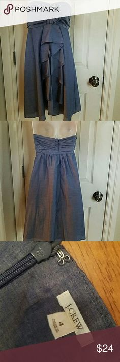 ADORABLE J CREW DENIM DRESS SZ 4 Very cute J.Crew denim strapless dress like new condition Norman clean non-smoking home the dress measures 28 inches from the armpit to the hem. J. Crew Dresses