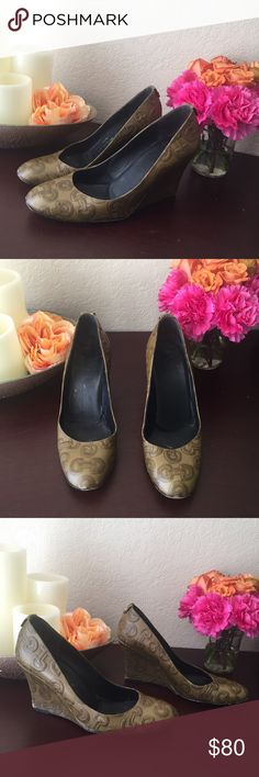 Gucci monogram green wedge pumps heels These have definitely been broken in but they still have a lot of life left!! EBAY is selling for over $100!  Back of Heels has some wear showing ( see picture) little bit of scuffing on front of shoes, wear on bottom soles.  Make me an offer!! Gucci Shoes Wedges