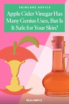 Apple Cider Vinegar Has Many Genius Uses, But Is It Safe for Your Skin? | Here's what apple cider vinegar can and can't do for your skin, according to a dermatologist. Read all about this beauty hack and other expert skincare advice by visiting our skincare board. #beautytips #realsimple #skincare #makeuphacks #bestmakeup Apple Cider Vinegar For Skin, Apple Cider Vinegar Benefits, How To Treat Acne, Skin Care Regimen, Skin Treatments, Natural Skin Care, Best Makeup Products, Acv, Skincare Routine