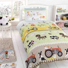 Apple Tree Farm duvet cover for young kids & toddlers. Farmyard bedding with tractors, horses, cows, dogs, sheet & farmyards. Kids bedding ideal for any farmyard themed bedroom accessories.