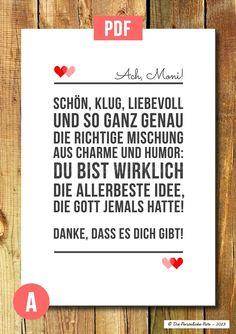 Wanddeko - Druckvorlage/Print/PDF: Dankeschön - Du bist toll! - ein Designerstück von DiePersoenlicheNote bei DaWanda