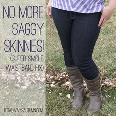 tired of jeans that sag or gape in the back? try this easy trick for no more saggy skinnies! from itsalwaysautumn.com