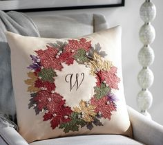 Pottery Barn Fall Leaf Embroidered Wreath Pillow Cover