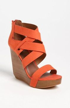 Loving coral sandals. Matiko Crisscross Wedge Sandal.