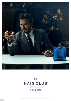 Fashion face: David puts his face to Haig Club Whisky by switching up his style for a suav...