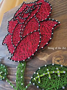 """String Art DIY Kit, Rose String Art, Flower String Art. Save 10% of the purchase price of this Rose String Art Kit by using the coupon code """"PinLove"""" at String of the Art's Etsy shop. Red Rose String Art"""