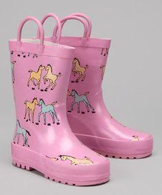 Loving this Pink Pony Rain Boot on #zulily! #zulilyfinds