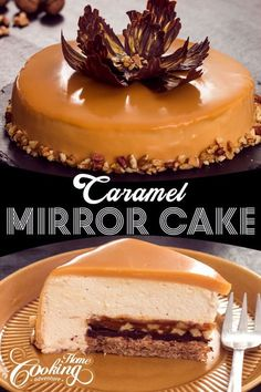 Perfect combination between caramel walnuts and chocolate in an elegant mirror cake. #mirror cake, #how to make mirror cake, #glaze