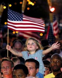 September 12, 2001 Three Year Old Girl Holds a Flag at a Las Vegas Candlelight Vigil