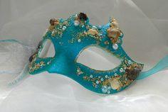 Mermaid mask seashell masquerade mask blue