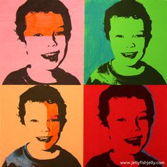 Warhole Portraits  (11)- print out and use color pencil, or cellophane to decorate