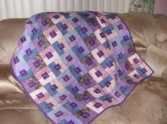 Tied CRIB QUILT or LAPROBE Purple and periwinkle by TessieTextile, $75.00