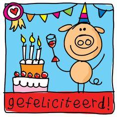 Verjaardagskaart met feestvarken- Greetz Happy Birthday Pig, Happy Birthday Quotes, Birthday Wishes, Birthday Cards, Graphic Illustration, Doodles, Drawings, Funny, Labels