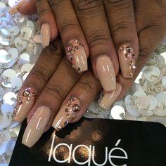 Nude Gold Studded Nails by laqué nail bar @laquenailbar Instagram photos