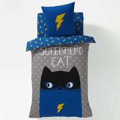Capa de edredon estampada para menino, Super-herói gato La Redoute Interieurs