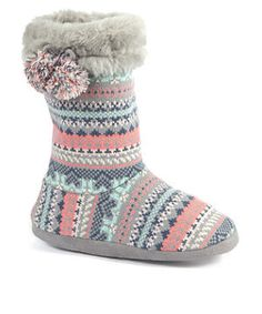 Fairisle Knitted Slipper Boots