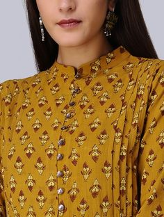 Mustard-Madder Ajrakh Cotton Kurta with Applique by Jaypore