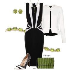 Blk and Wht with Peridot