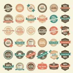 36 retro label sample by Noka Studio on @creativemarket