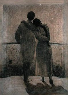 Young Couple by Angelo Morbelli. BonzaSheila Presents The Art Of Love Archives For March, 2011 Lovers Embrace, Only Lovers Left Alive, Italian Painters, Spiritual Path, Young Couples, Couple Art, Nocturne, Figure Drawing, Lovers Art