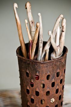 I absolutely LOVE these wooden crochet hooks!!