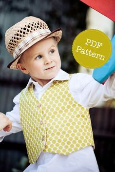PDF sewing pattern and tutorial for Little Lads Reversible Vest. PDF Patterns by Angel Lea Designs on Etsy.  The Little Lads Vest is a super