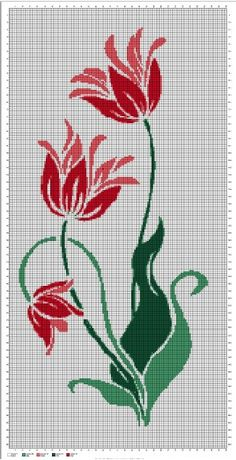 Tulip silhouette cross stitch pattern in pdf, You can create really unique styles for fabrics with cross stitch. Cross stitch models will very nearly amaze you. Cross stitch novices can make the models they want without difficulty. Hand Embroidery Projects, Embroidery Stitches Tutorial, Hand Embroidery Patterns, Embroidery Designs, Cross Stitch Pattern Maker, Counted Cross Stitch Patterns, Cross Stitch Designs, Cross Stitch Embroidery, Cross Stitch Books