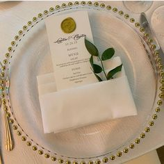 It's no secret that we love charger plates here at but this wax seal menu card by is paired perfectly with our gold glass beaded charger plate. Wedding Sets, Our Wedding, Plate Mat, Gold Chargers, Buffet Server, Charger Plates, Gold Glass, Menu Cards, Wedding Stationary