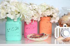 Beach Chic: Painted Mason Jars
