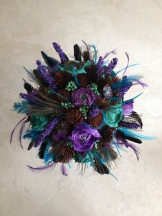 SALE Peacock flower and feather alternative by BouquetChicUnique