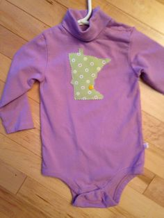 Minnesota Baby Onesie ~ Size 12 Months ~ Long Sleeves ~ Lilac with Floral MN Appliqué ~ MSP ~ One-of-Kind ~ MN Funky Baby ~  Christmas gift! by ArtThatCooks on Etsy
