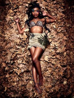 Project name-Star shoot-African queen. Description-I had to style and makeup the actor to match with her environment and her personality.Representing her love for her African culture and her love for nature.Combining how comfortable she is with her sexuality and in her own skin  I bought the top.I remade and styled a scarf ,to transform it into a handmade cloth that is wrapped around her body.