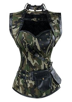 Charmian Women's Spiral Steel Boned Steampunk Gothic Vintage Camouflage Print Corset with Jacket and Belt Camouflage Medium Steampunk Corset, Gothic Corset, Steampunk Fashion, Gothic Fashion, Black Widow Costume, Gothic Mode, Leather Corset, Bustiers, Classy Outfits