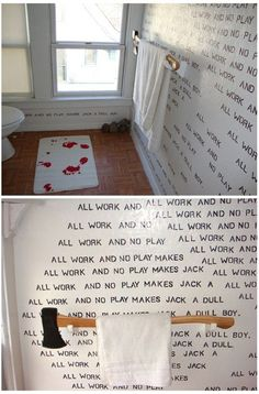Look at the painted footprints on the rug. (Although I would have chosen a different color given the axe towel rack!)