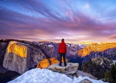 """""""The light moved across El Cap transforming Horsetail falls. We hiked back to camp under a purple sky."""" Photo: Clayton Herrmann on an overnight snowshoe expedition in Yosemite"""