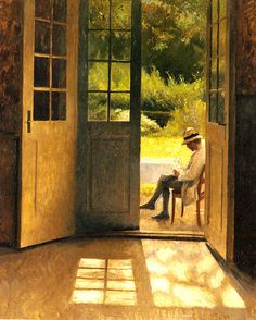 Peter Ilsted 'The open door' Peter Vilhelm Ilsted Danish artist and printmaker. Paintings I Love, Love Painting, Painting & Drawing, Art Society, Scandinavian Art, Open Window, Fine Art, Art Gallery, Illustration Art