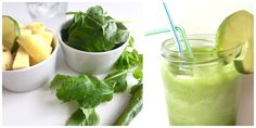 Pineapple juice with spinach and chilli