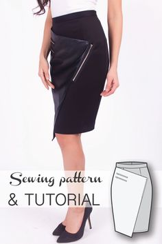Wrap Asymmetric Skirt Sewing Pattern and Sewing Tutorial