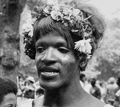 """""""I'd like to see the gay revolution get started, but there hasn't been any demonstration or anything recently. You know how the straight people are. When they don't see any action they think, 'Well, gays are all forgotten now, they're worn out, they're tired.'"""" – Marsha """"Pay It No Mind"""" Johnson, 1971. @payitnomind. Photo: Marsha P. Johnson, Christopher Street Liberation Day, New York City,"""