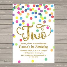 Rainbow Gold 2nd Birthday Invitation Girl By DesignedbyGeorgette Polka Dot